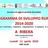 Incontro: Piano Sviluppo Rurale. Ribera, Lun. 11 Apr. ORE 16:30