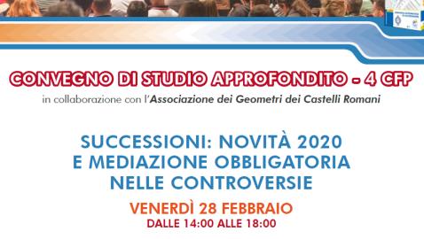 Successioni: Novità 2020 e Mediazione Obbligatoria nelle Controversie. In Streaming, Ven 28 Feb. 14:00