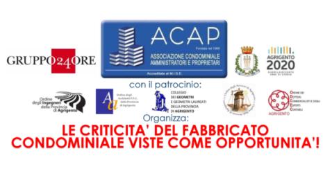 Seminario: Le Criticità del Fabbricato Condominiale. Agrigento, Sab. 30 Nov. 8:30