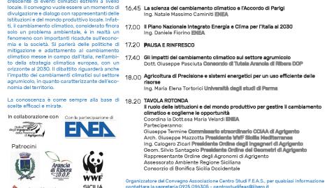 Convegno: Cambiamento Climatico, Opportunità per il Territorio. Ribera, Ven. 8 Nov. 16:30