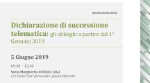 "Incontro ""Dichiarazione Successione Telematica"". Santa Margherita di B., Merc. 5 Giu. 9:30"