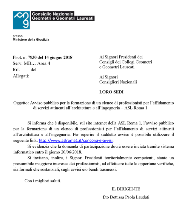 Asl roma 1 avviso formazione elenco professionisti per l for Elenco studi di architettura roma