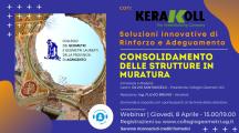 Webinar: Consolidamento delle Strutture in Muratura. Giov. 8 Aprile 15:00